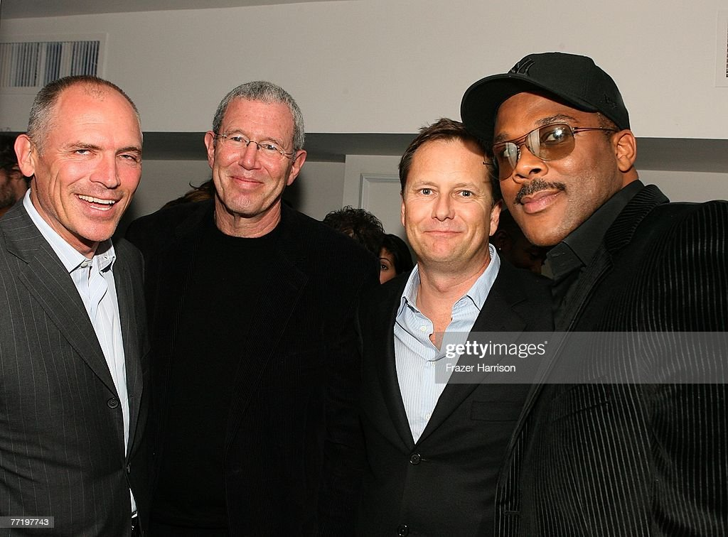 Lionsgate's Jim Drake, Mike Paseornek and Tom Ortenberg poste with Tyler Perry at Lionsgate's Premiere Of 'Why Did I Get Married?' held at The Cinerama Dome, Arclight Hollywood on October 4, 2007 in Los Angeles, California.