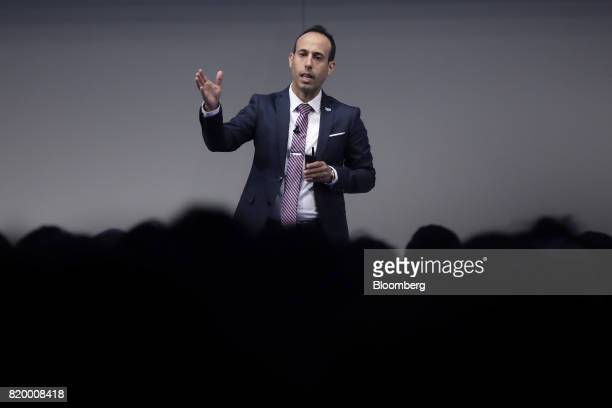 Lior Div cofounder and chief operating officer of Cybereason Inc gestures as he speaks at the SoftBank World 2017 event in Tokyo Japan on Friday July...
