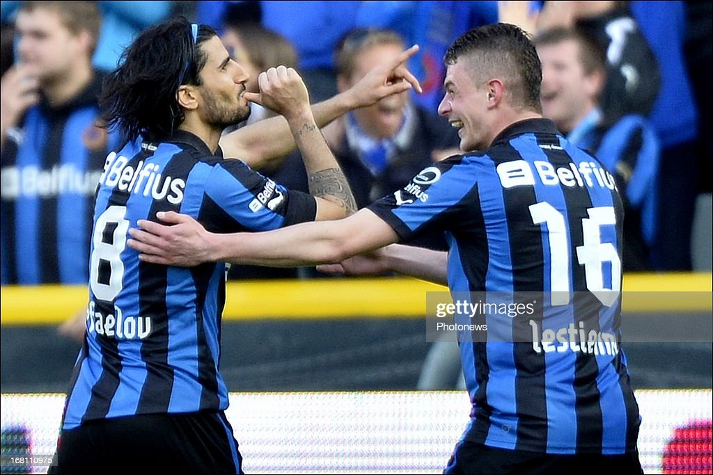 Lior Refaelov (L) of Club Brugge KV celebrates after scoring a goal during the Jupiler Pro League play-off 1 match between Club Brugge and Sporting Lokeren on May 5, 2013 in Brugge, Belgium.