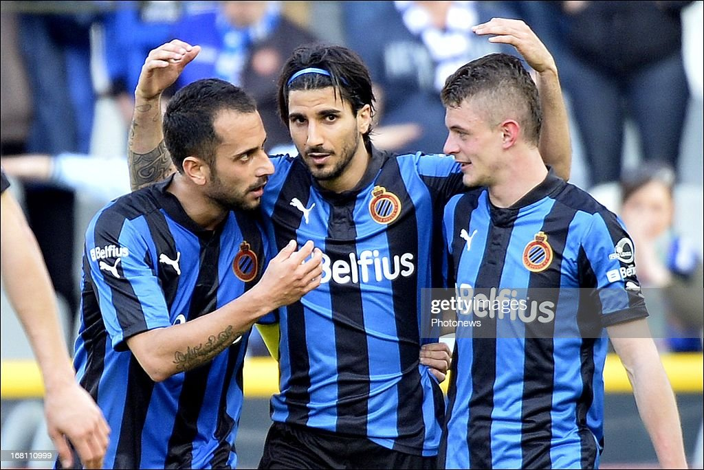 Lior Refaelov (C) of Club Brugge KV celebrates with scoring a goal during the Jupiler Pro League play-off 1 match between Club Brugge and Sporting Lokeren on May 5, 2013 in Brugge, Belgium.