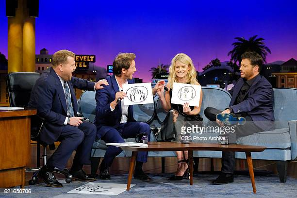 Lior Suchard Alice Eve and Harry Connick Jr chat with James Corden during 'The Late Late Show with James Corden' Monday October 31 2016 On The CBS...