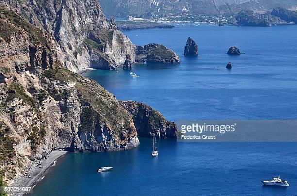 Lipari rock formations called Faraglioni