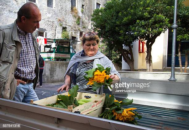 Lipari, Sicily: Buying and Selling Squash Blossom Flowers