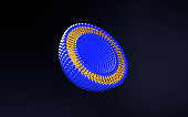 Medical 3D illustration of liposomes bi-layer structure isolated on dark background