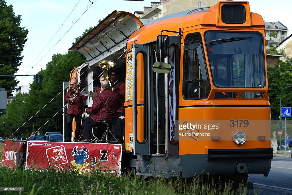Lippa Jazz Band perform during Torino Jazz Festival on the tram on April 30, 2014 in Turin, Italy.