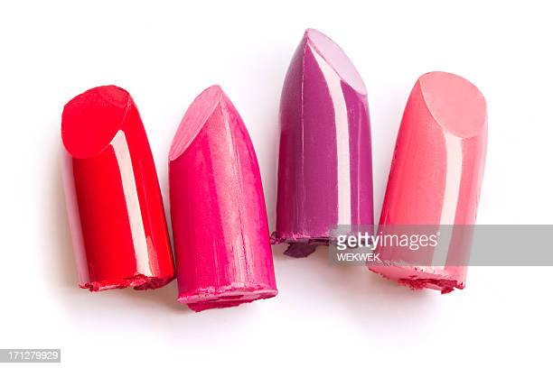 Lipstick bullet tips in a row
