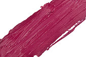 Lipstick smear texture on white background (plum color)
