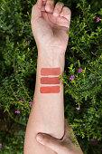 Lipstick Testing on arm