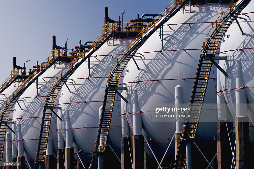 Liquefied petroleum gas (LPG) containers : Stock Photo
