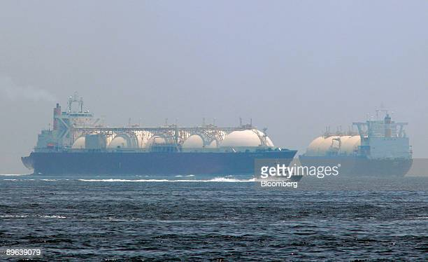 Liquefiednaturalgas tankers leave a berth in Yokohama City Kanagawa Prefecture Japan on Saturday June 20 2009 The world LNG market is likely to face...