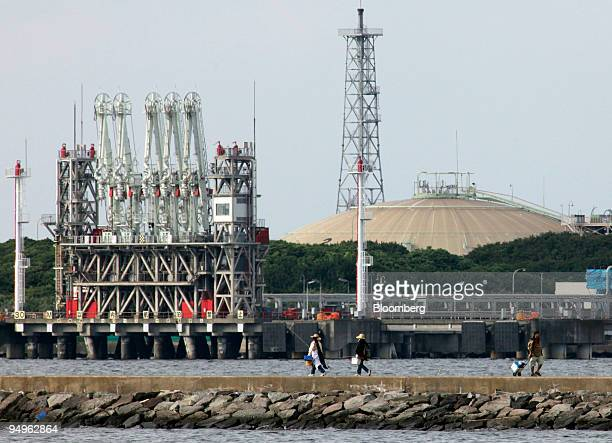 Liquefiednaturalgas tanks are seen at Tokyo Electric Power Co's Futtsu thermal plant in Futtsu City Chiba Prefecture Japan on Saturday June 20 2009...