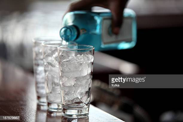 Liquid and ice cubes