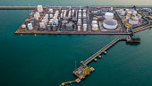 Liquid chemical tank terminal, Storage of liquid chemical and petrochemical products tank, Aerial view.
