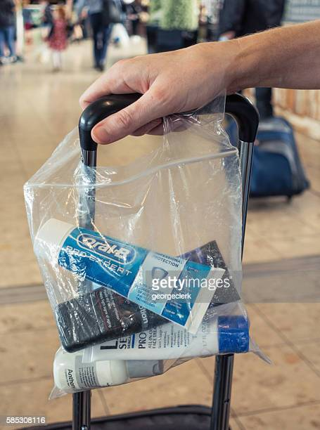 Liquid items in transparent bag for security at airport