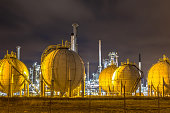 Liquid Natural Gas globe shape containers in Europoort industrial area location Botlek in Port of Rotterdam