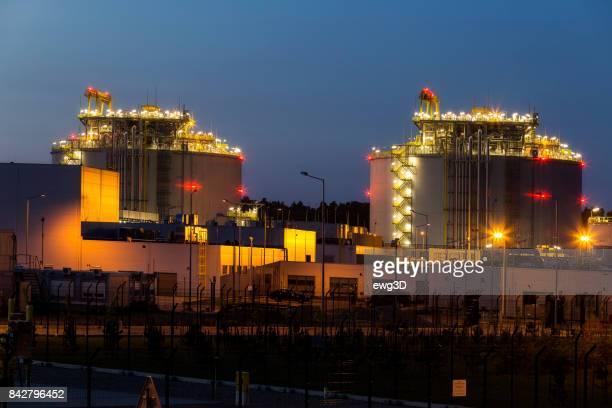 Liquid natural gas storage station by night, Swinoujscie, Poland