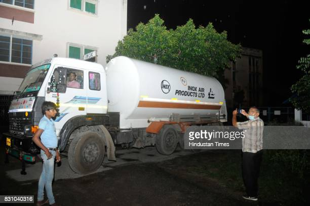 Liquid oxygen gas tanker arrive to refill the central supply at BRD Medical College where around 70 children have died for various reasons including...