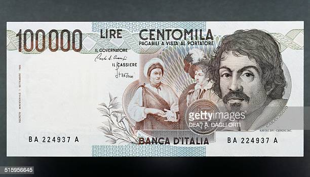 100000 lire banknote Caravaggio first type 19831994 reverse Michelangelo Merisi da Caravaggio 156x79 cm Italy 20th century