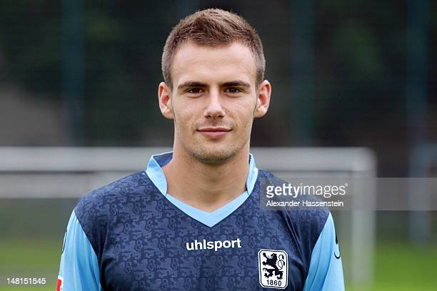 Liridon Vocaj of 1860 Muenchen poses during the Second Bundesliga team presentation of TSV 1860 Muenchen on July 11 2012 in Munich Germany