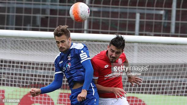 Liridon Vocaj of RW Erfurt challenges Maximilian Rossmann of FSV Mainz 05 II during the Third League match between 1FSV Mainz 05 II and RW Erfurt at...