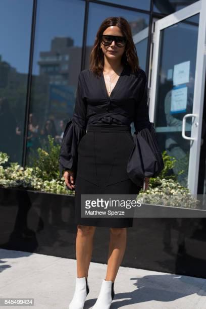 Lisa Aiken is seen attending Public School during New York Fashion Week wearing DVF on September 10 2017 in New York City