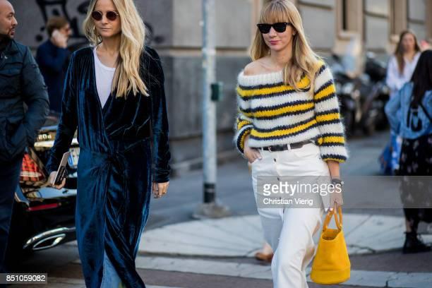 Lisa Aiken is seen outside Max Mara during Milan Fashion Week Spring/Summer 2018 on September 21 2017 in Milan Italy