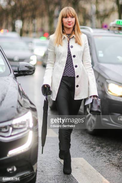 Lisa Aiken Net A Porter Retail fashion Director is seen outside the Rochas show during Paris Fashion Week Womenswear Fall/Winter 2017/2018 on March 1...
