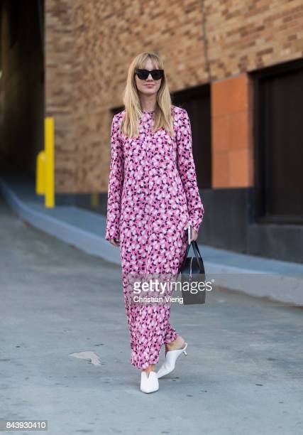 Lisa Aiken seen wearing a pink dress in the streets of Manhattan outside Adam Selman during New York Fashion Week on September 7 2017 in New York City