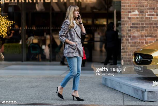 Lisa Aiken wearing a denim jeans blazer at day 2 during MercedesBenz Fashion Week Resort 18 Collections at Carriageworks on May 15 2017 in Sydney...