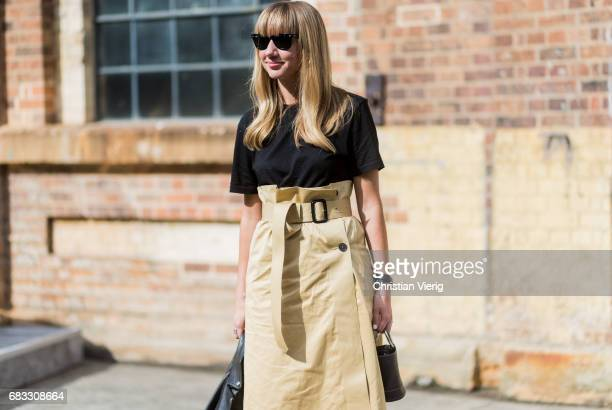 Lisa Aiken wearing a high waisted skirt at day 2 during MercedesBenz Fashion Week Resort 18 Collections at Carriageworks on May 15 2017 in Sydney...
