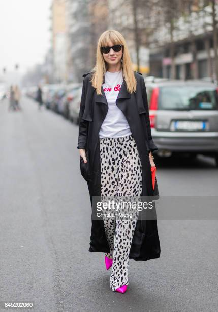 Lisa Aiken wearing a long black coat outside Etro during Milan Fashion Week Fall/Winter 2017/18 on February 24 2017 in Milan Italy