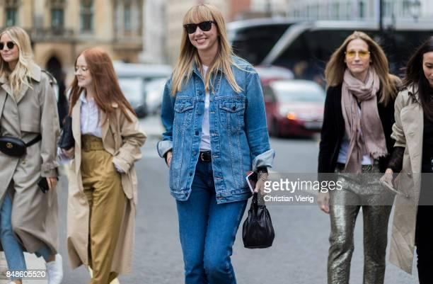 Lisa Aiken wearing denim jacket outside Preen during London Fashion Week September 2017 on September 17 2017 in London England