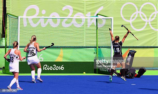 Lisa Altenburg of Germany celebrates a goal against New Zealand in the Women's Bronze Medal Match on Day 14 of the Rio 2016 Olympic Games at the...