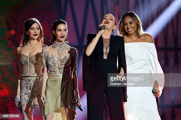 Lisa and Jessica Origliasso of the Veronicas Tina Arena and Jessica Mauboy perform during the 29th Annual ARIA Awards 2015 at The Star on November 26...