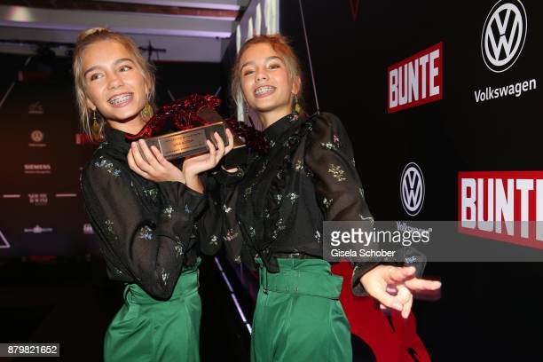 Lisa and Lena Influencer of the year with award during the New Faces Award Style 2017 at 'The Grand' hotel on November 15 2017 in Berlin Germany