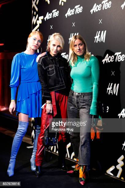 Lisa Banholzer Caro Daur and Tanja Trutschig attend the HM Ace Tee showcase on August 16 2017 in Berlin Germany