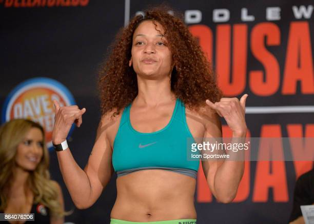 Lisa Blaine pose for photos at the weighin Ana Julaton will be challenging Lisa Blaine in a Flyweight bout on October 19 2017 at Bellator 185 at the...