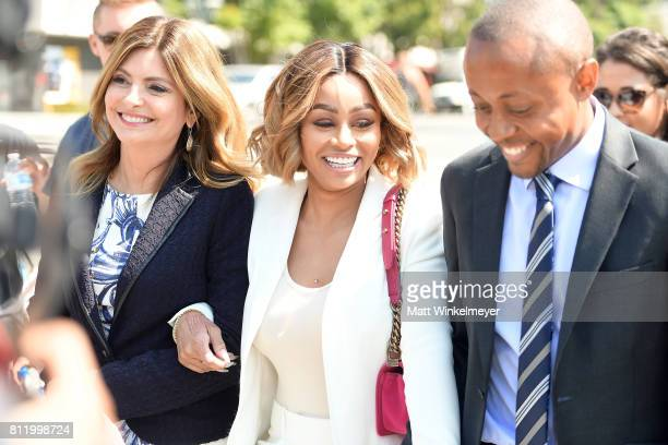 Lisa Bloom and Blac Chyna attend a precourt hearing press conference at Los Angeles Superior Court on July 10 2017 in Los Angeles California