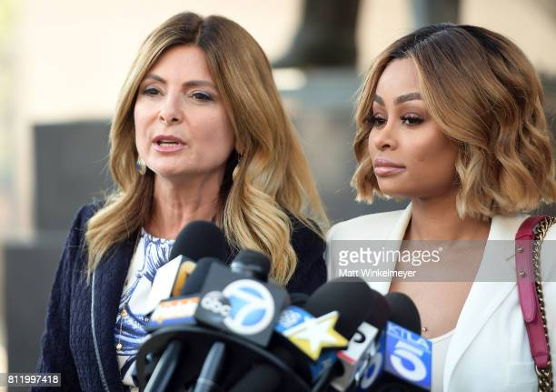 Lisa Bloom and Blac Chyna speak during a precourt hearing press conference at Los Angeles Superior Court on July 10 2017 in Los Angeles California