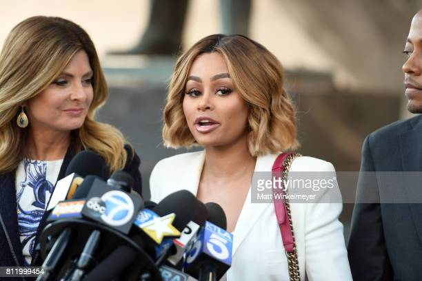 Lisa Bloom Blac Chyna and Walter Mosley speak during a precourt hearing press conference at Los Angeles Superior Court on July 10 2017 in Los Angeles...