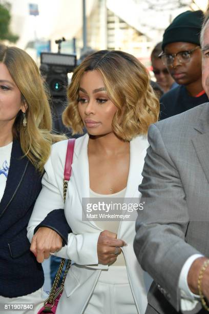 Lisa Bloom holds a precourt hearing press conference with her client Blac Chyna at Los Angeles Superior Court on July 10 2017 in Los Angeles...