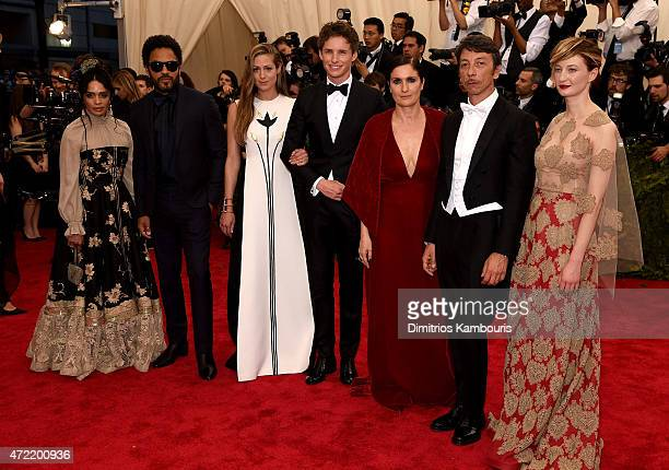 Lisa Bonet Lenny Kravitz Hannah Bagshawe Eddie Redmayne Maria Grazia Chiuri Pierpaolo Piccioli and Alba Rohrwacher attend the 'China Through The...