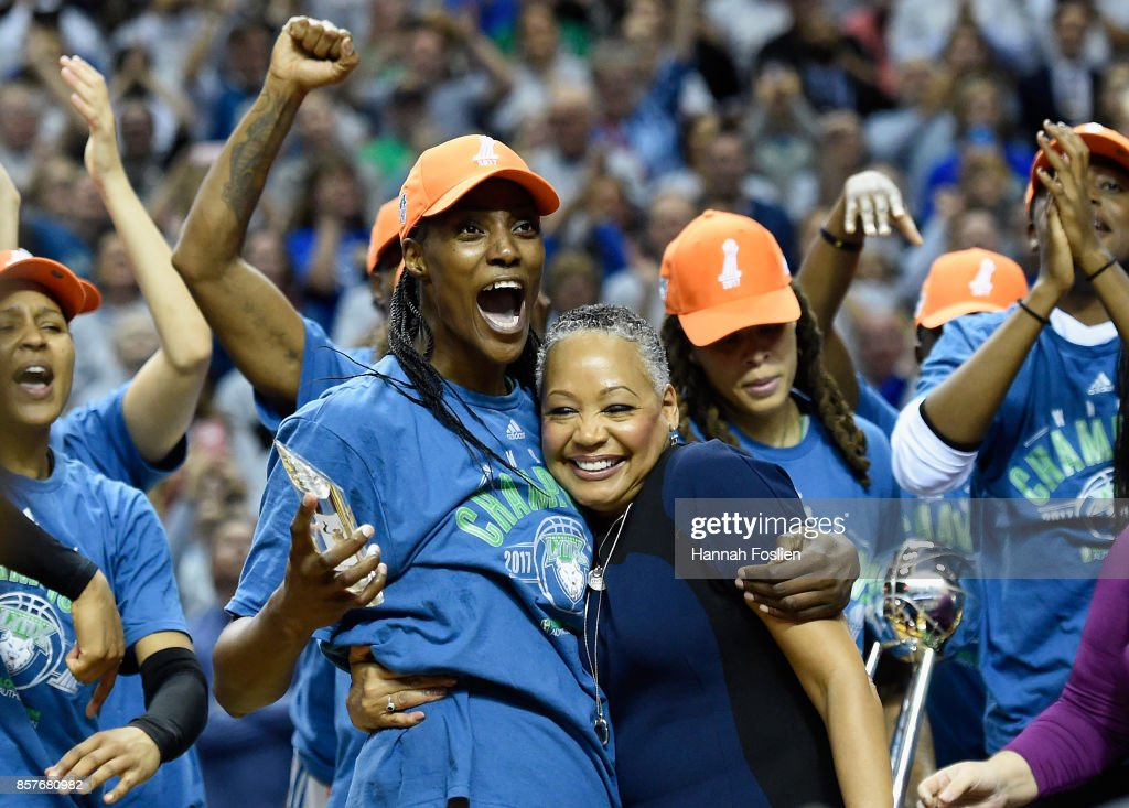 Lisa Borders, President of the WNBA presents Sylvia Fowles #34 of the Minnesota Lynx the MVP of the WNBA Finals after a defeat of against the Los Angeles Sparks in Game Five of the WNBA Finals on October 4, 2017 at Williams in Minneapolis, Minnesota. The Lynx defeated the Sparks 85-76 to win the championship.