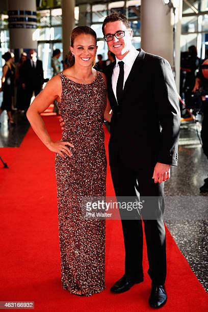 Lisa Carrington and Michael Buck arrive at the 2015 Halberg Awards at Vector Arena on February 11 2015 in Auckland New Zealand
