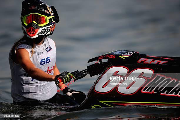 Lisa Caussin Bataglia looks practice ahead of the Aquabike Class Pro Circuit World Championships Grand Prix of Sharjah at Khalid Lagoon on December...
