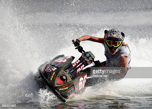Lisa Caussin Bataglia of Monaco practice ahead of the Aquabike Class Pro Circuit World Championships Grand Prix of Sharjah at Khalid Lagoon on...
