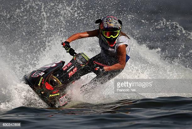Lisa Caussin Battaglia of Monaco race in the Ski Ladies GP1 final during the Aquabike Class Pro Circuit World Championships Grand Prix of Sharjah at...