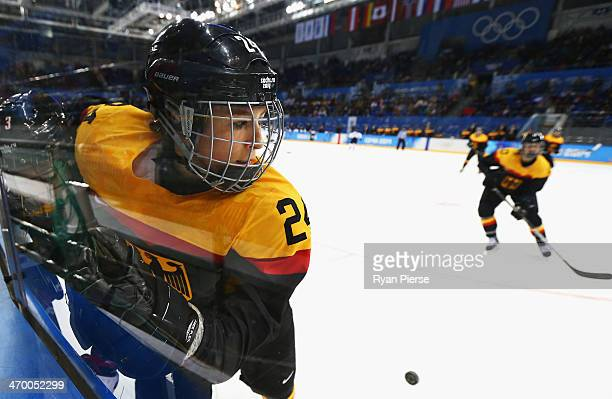 Lisa Christine Schuster of Germany in pushed against the glass during the Women's Classifications Game between Germany and Japan on day 11 of the...