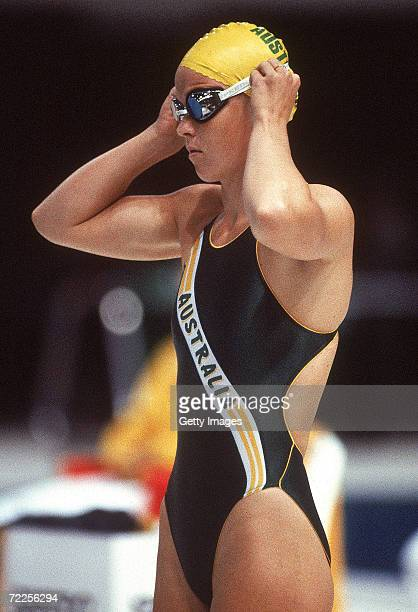 Lisa Curry of Australia looks on before the start of the Womens 100m Breaststroke during the 1982 Commonwealth Games in Brisbane Australia Curry is a...
