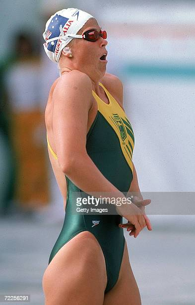 Lisa Curry of Australia takes a deep breath before the start of the Womens 100m Breaststroke during the 1984 Olympic Games held in Los Angeles USA...